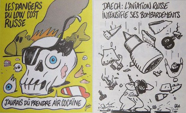 CHARLIE HEBDO CARTOON OF DOWNED JET